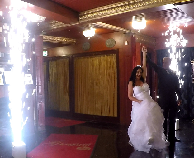 Cold Spark Machines add the wow to a entry. A Special Add On to our Wedding DJ Hire - Moreton Bay Region - Glengariff Historic Estate
